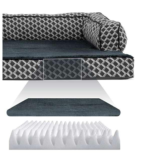46536257BX Furhaven 46536257BX Jumbo Plush Faux Fur Orthopedic Sofa Pet Bed, Diamond Gray 2