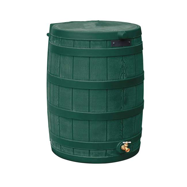 RW50-DIV-GRN Good Ideas Rain Wizard Rain Collection Barrel 50-Gallon w/ Diverter Kit, Green 1