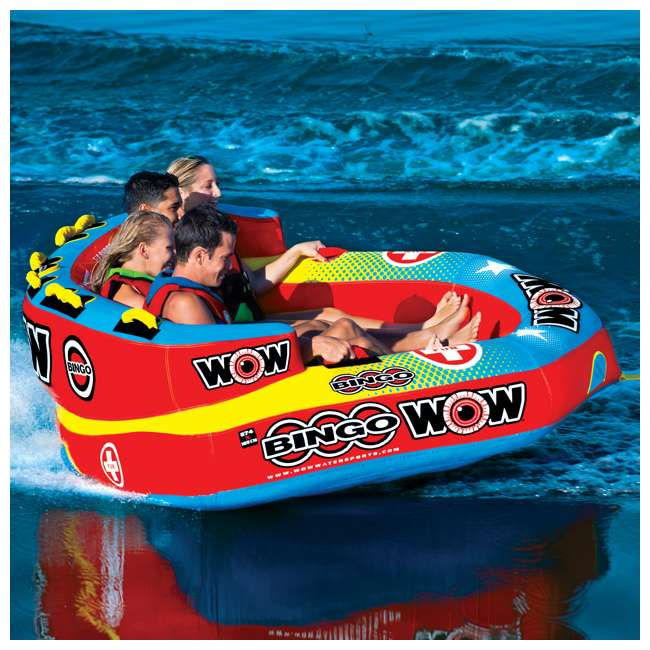 14-1080 Wow Bingo 2 Inflatable 2 Person Seating Ride Cockpit Towable Water Sports Tube  3