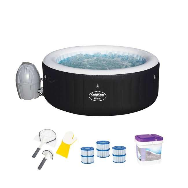 54124E-BW + 3 x 90352E-BW + 58421-BW + 45522A Bestway SaluSpa Hot Tub with Cartridge, Tool, & Support Kit