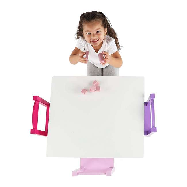TC727 - Friends Tot Tutors Friends Collection Kids Wood Table & 4 Chair Set, White/Pink & Purple 2