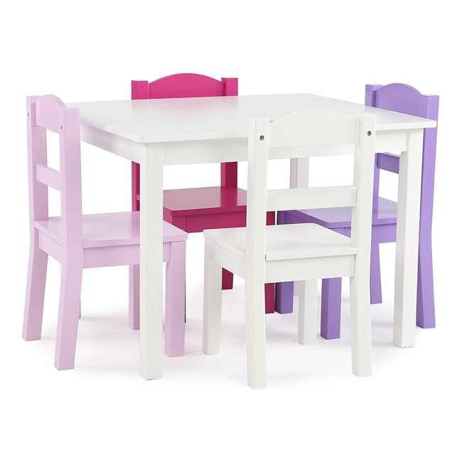 TC727 - Friends Tot Tutors Friends Collection Kids Wood Table & 4 Chair Set, White/Pink & Purple