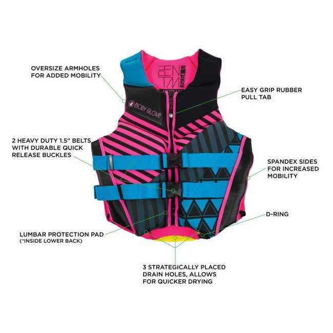 16224W-S-BLKPNK LNK1 - Body Glove Phantom USCGA Neoprene PFD Life Vest Small, Pink/Black 2