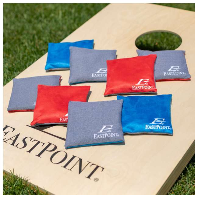 1-1-16954-DS EastPoint Sports Solid Wood Bean Bag Toss Cornhole Yard Game Board Set with Bags