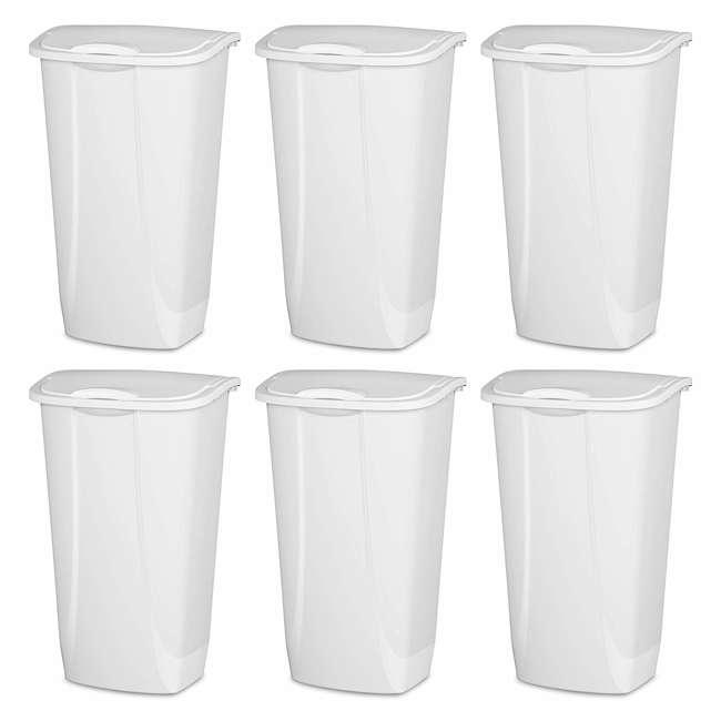 6 x 10938006-U-A Sterilite 11 Gallon SwingTop Clean White Wastebasket Can (Open Box) (6 Pack) 1