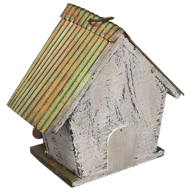 63972 Carson Home Accents 63972 Wood and Tin Floral White Outdoor Birdhouse, Floral 1