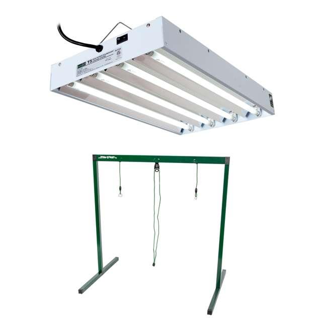 FLT24 + JS10065 Hydrofarm EnviroGro Light Fixture and Jump Start 2Ft Hydroponic Grow Light Stand
