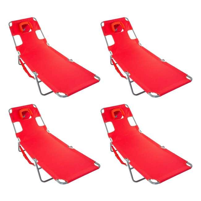 4 x CHS-1002R Ostrich Chaise Lounge Folding Portable Sunbathing Poolside Beach Chair (4 Pack)
