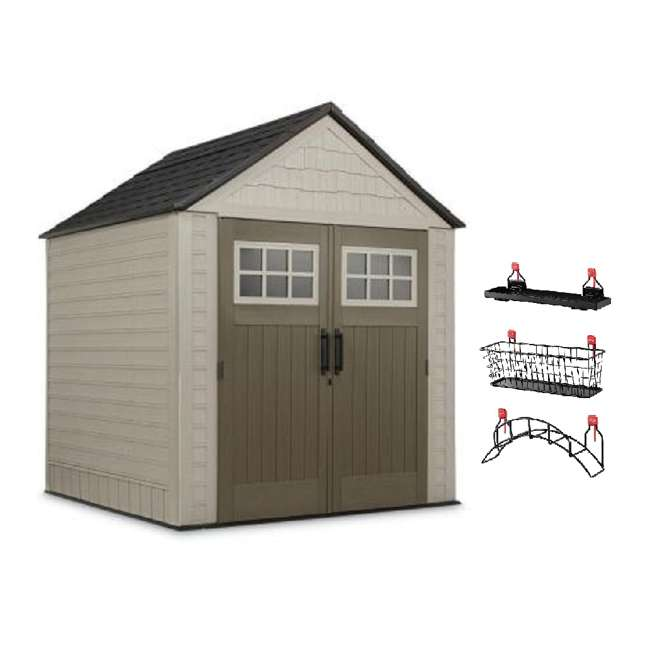 2035896 + 2024654 + 2024656 + 2024651 Rubbermaid 7' x 7' Big Max Storage Shed with Utility & Handle Hook & Accessories