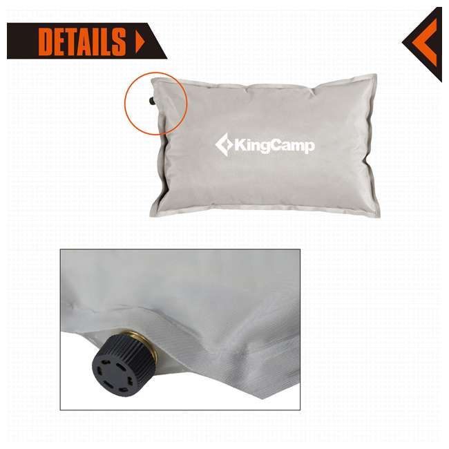 KM359420010000 KingCamp Double Self Inflating Camping Sleeping Pad Mat with 2 Pillows, Gray 4