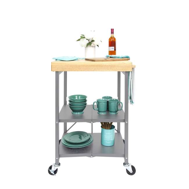 RBT-02 Origami Foldable Wheeled Kitchen Island Cart, Silver 6
