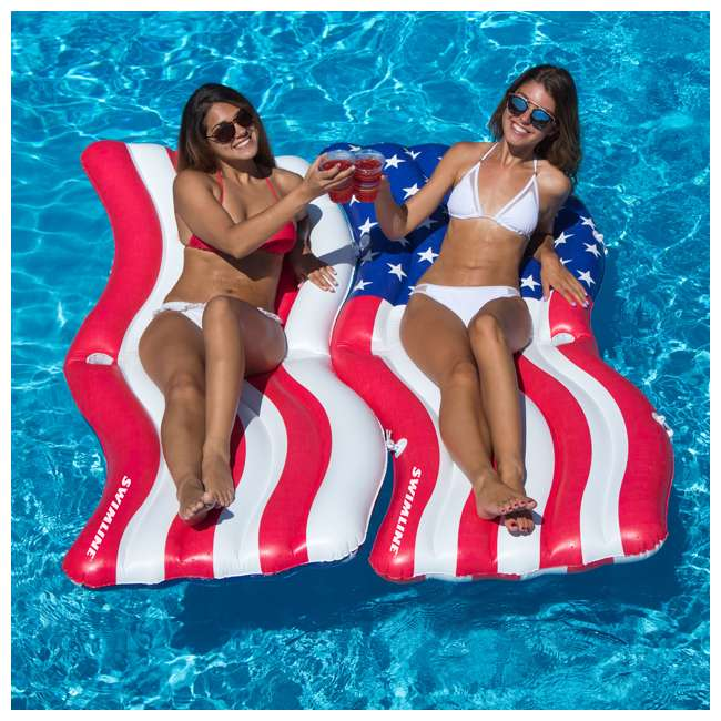 4 x SL-90346-U-A Swimline American Flag Inflatable Swimming Pool Mattress Set (Open Box) (4 Pack) 3