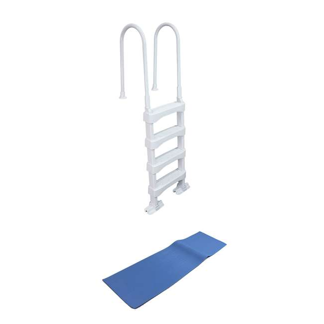 SLD2 + 87953 Vinyl Works 4 Step Ladder for 60 Inch Swimming Pool w/ Protective Ladder Mat