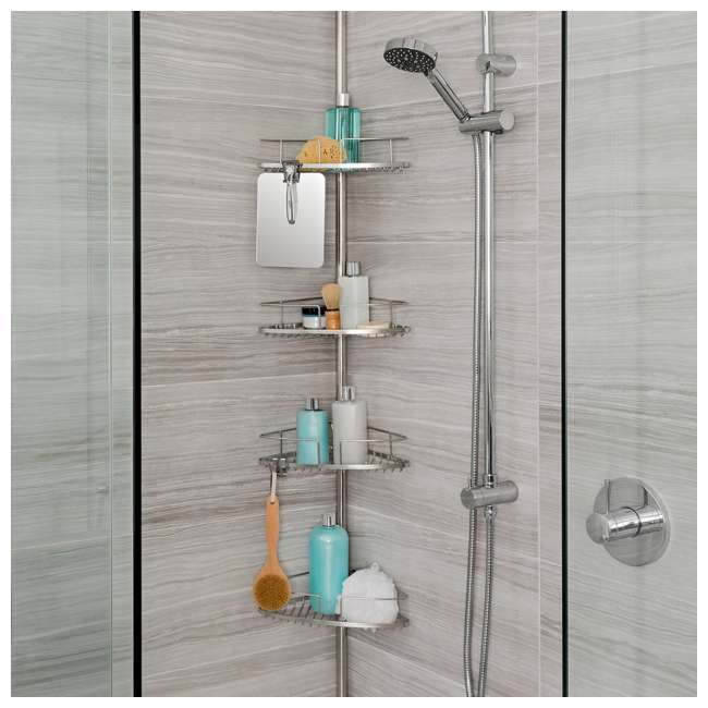 13406 Better Living Fineline 4-Tier Stainless Steel Shower Storage Caddy with Mirror 3