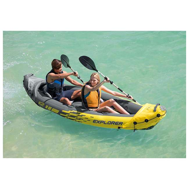 68307EP + 2 x NRS_40013_03_100 Intex Explorer Inflatable Kayak with Air Pump & Small/Medium Life Jacket (2 Pack) 4