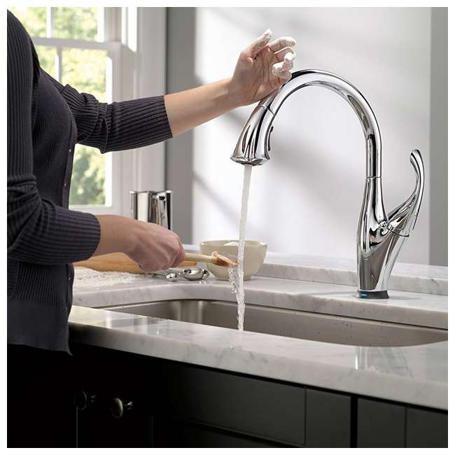 3 x 9192T-DST-U-A Delta Single Handle Touch-Activated Kitchen Faucet, Chrome (Open Box) (3 Pack) 3