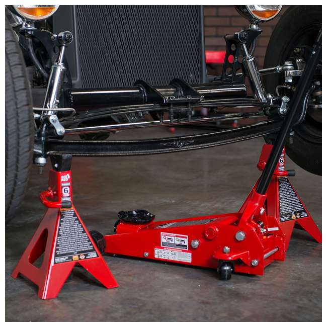 TOR-T46002A-U-D Torin Big Red 6 Ton Capacity Double Locking Steel Jack Stands, 1 Pair (Damaged) 6