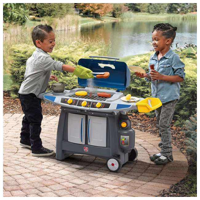 489899 Step2 Pretend Play Battery Powered Sizzle & Smoke Barbecue Grill w/ Cooking Set 1