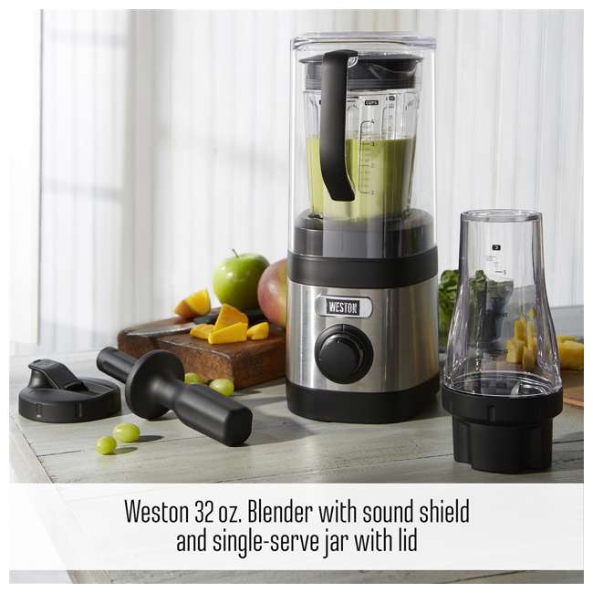 58918 + BLEND-BIBLE Weston 32 Ounce Blender with Personal To Go Jar & Blender Bible Recipe Book 2