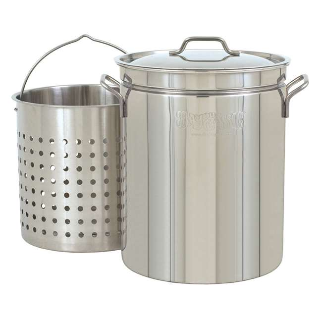 1160 Bayou Classic Large 62 Quart Stainless Steel Soup Cooking Stock Pot with Basket