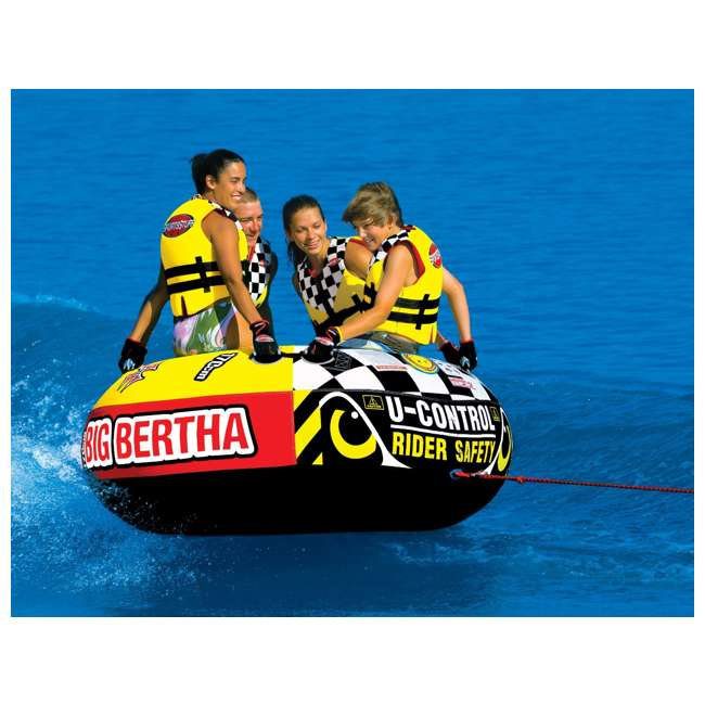 53-1329 + AHTR-42 Sportsstuff 1-4 Person Boat Lake Tube | Airhead Boat 2 Section Tube Tow Rope for 4 Rider 4