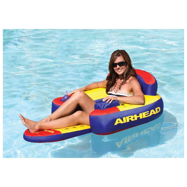 AHBL-3-U-B Airhead Bimini Lounger II Inflatable Pool Lake Lounge Raft, Multi Color (Used) 1