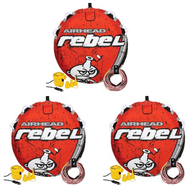 3 x AHRE-12-VMI19 Airhead Rebel 54 Inch 1 Person Red Towable Tube Kit w/ Rope and 12V Pump(3 Pack)