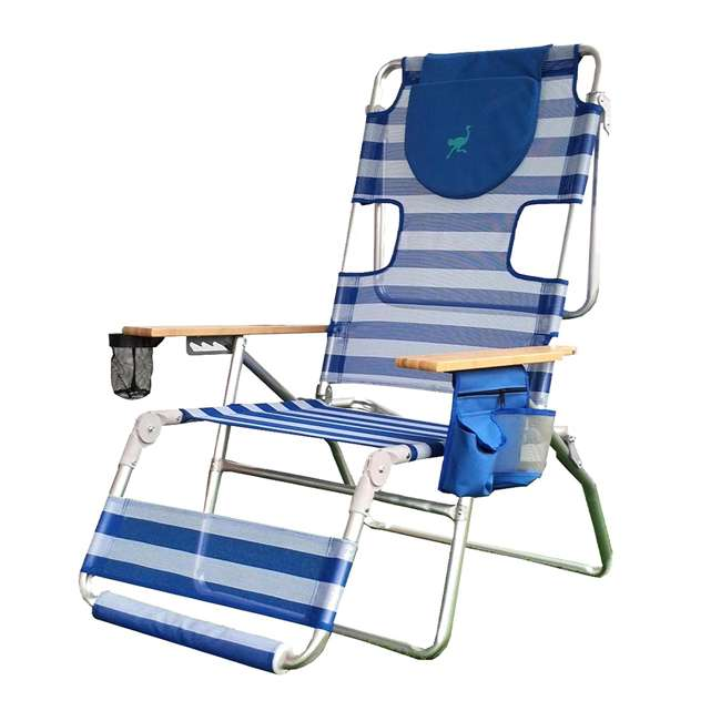 A3N1-2000S Ostrich 3-N-1 Altitude Outdoor Lounge Reclining Beach 16-Inch Height Chair, Blue