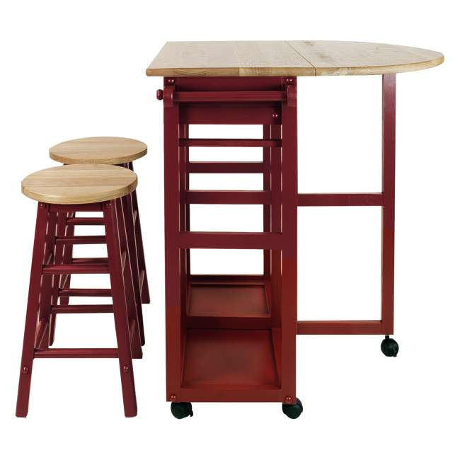 355-29 Casual Home Drop Leaf Hardwood Mobile Breakfast Cart with 2 Wooden Stools, Red 2
