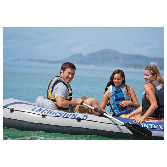 3 x 68325VM-U-A Intex Excursion 5 Person Inflatable Fishing Boat Set w/ Oars & Pump (Open Box) (3 pack) 7