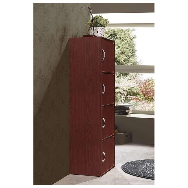 HID4 MAHOGANY Hodedah 4 Door Enclosed Multipurpose Storage Cabinet for Home/Office, Mahogany 2