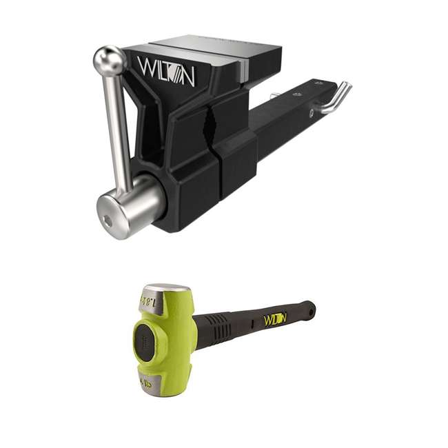 WIL-10025 + WIL-20416 Wilton 5 Inch ATV All Terrain Hitch Mounted Vise + 4 Pound HRS Steel Sledge Hammer