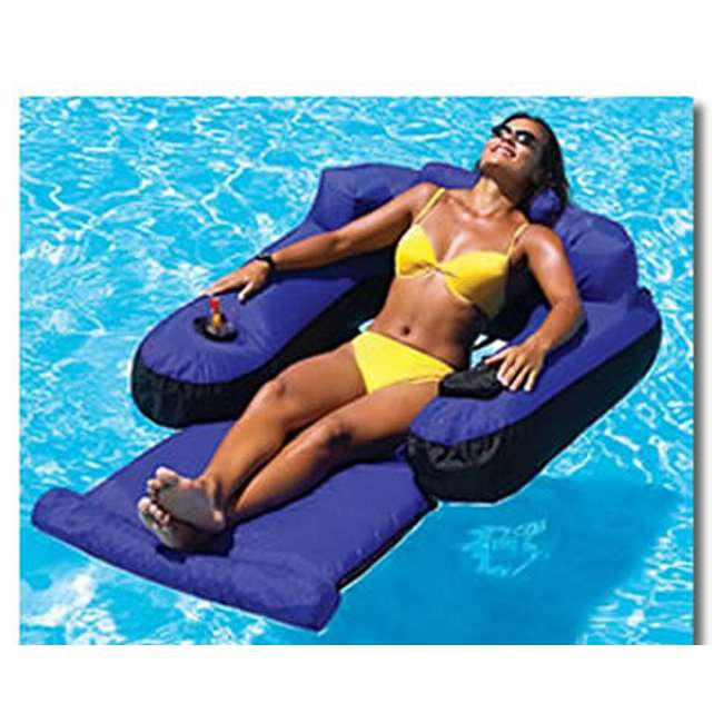9047 + 58868EP Swimline Swimming Pool Inflatable Floating Lounger Chair & Recliner w/ Cup Holders 2