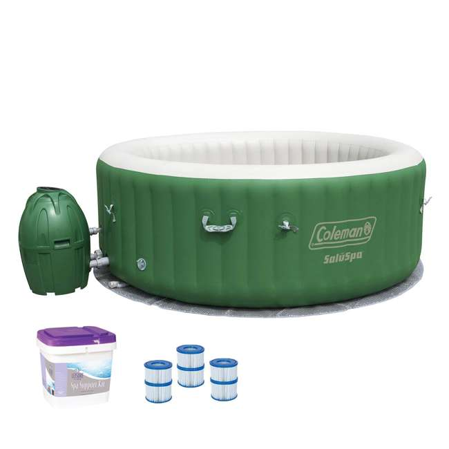 90363E-BW + 3 x 90352E-BW + 45522A Coleman SaluSpa 6-Person Inflatable Spa w/ Filters & Support Kit