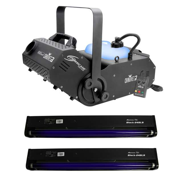 H1800FLEX + 2 x BLACK-24BLB Chauvet DJ Hurricane 1800 FLEX DMX Fog Machine + 24 Inch Black Light (2 Pack)