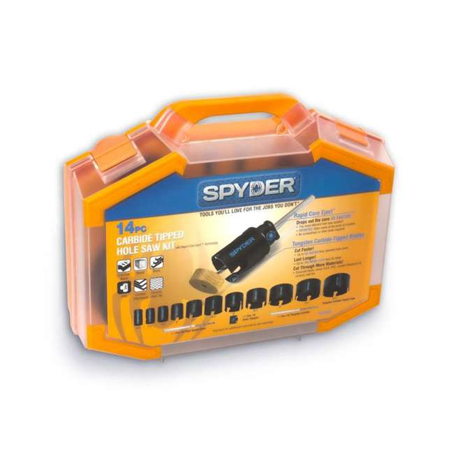 ST-600880-U-A Spyder 14-Piece Carbide Tipped Deep Cut Hole Saw Kit (Open Box)