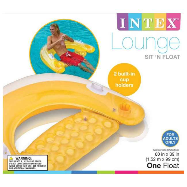 58859EP-U-A INTEX Sit'n Float Classic Inflatable Floating Raft Pool Tube (Open Box) (2 Pack) 8