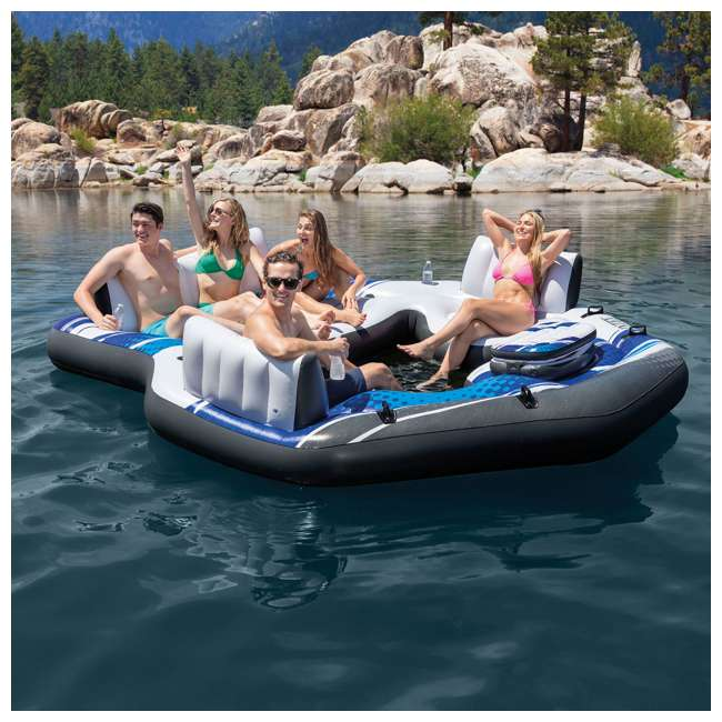 57272EP + 66639E Intex Adult 5 Seat Pool Float w/ Quick Fill AC Electric Air Pump 1