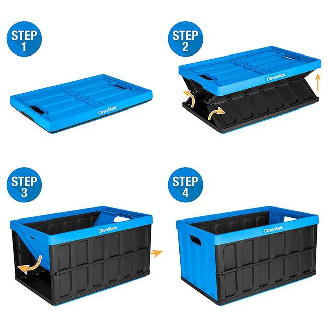 8034119-21843PK CleverMade Durable Stackable 62L Collapsible Storage Bins, Neptune Blue (3-Pack) 2