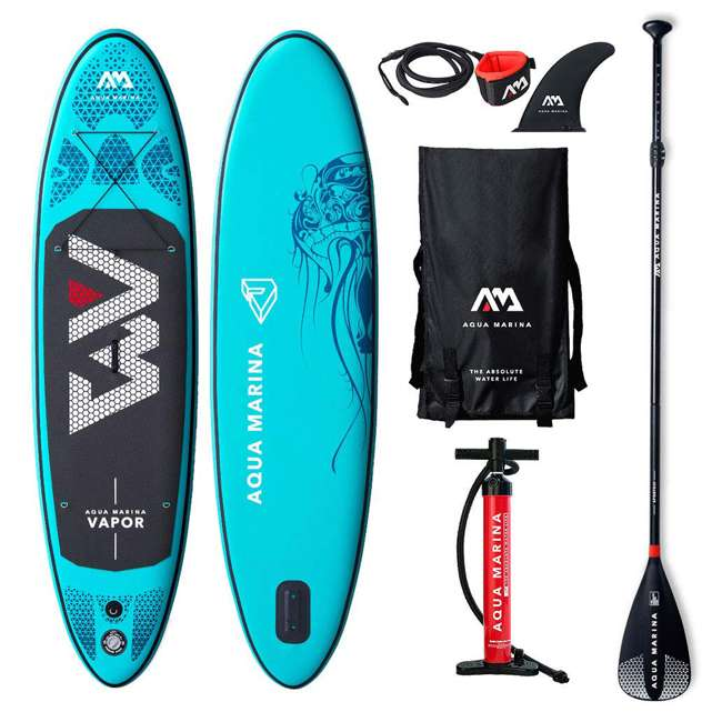 SUP-AM-PADDLEBOARD-VAPOR Aqua Marina Vapor 9.8 Foot Inflatable SUP Stand Up Paddle Board Kit with Pump
