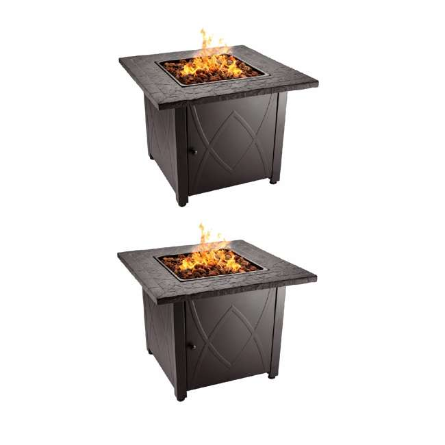 GAD1418M Endless Summer 30 inch Outdoor Gas Lava Rock Patio Fire Pit, Brown (2 Pack)