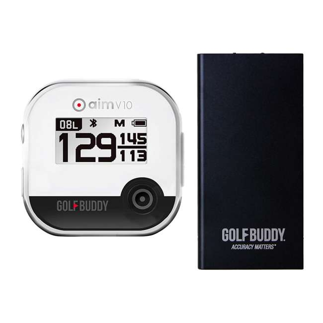 AIM-V10-CR + GB-BATTPACK-BLACK-2 GolfBuddy Aim V10 LCD Display Talking Golf Green GPS + USB Charging Power Pack