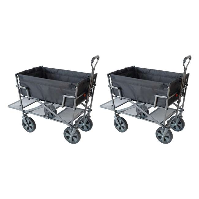MAC-DD-106-BLACK Mac Sports Double-Decker Collapsible Yard Cart, Black (2 Pack)
