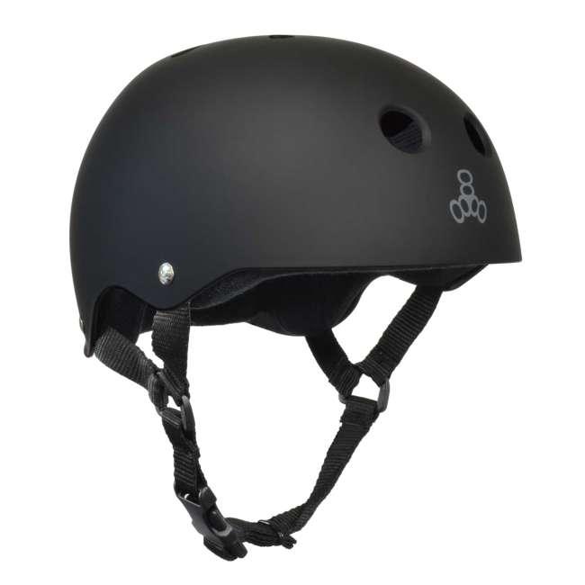 T8-1351-U-B Triple 8 Hardened Skate Helmet w/ Sweatsaver Liner, Black Rubber - Small (Used) 3