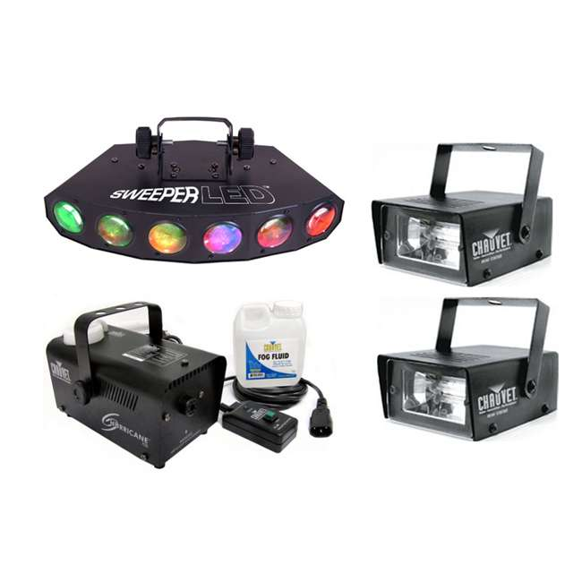 SWEEPER-LED + H700 + 2 x CH-730 Chauvet Sweeper LED 8 Ch DMX DJ Effect Light + Fog Machine + (2) Mini Strobes