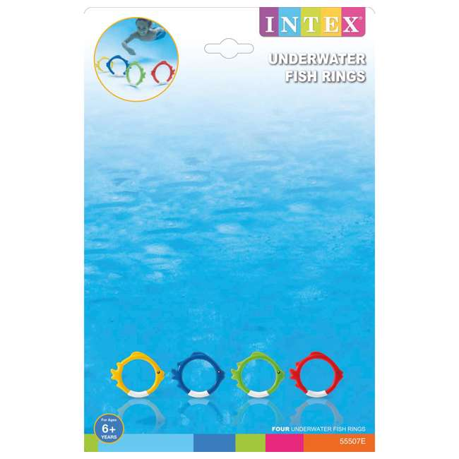 55507E Intex Diving Pool Kids Toy Play Underwater Fish Rings Sticks, 4 Pack (Open Box) 3