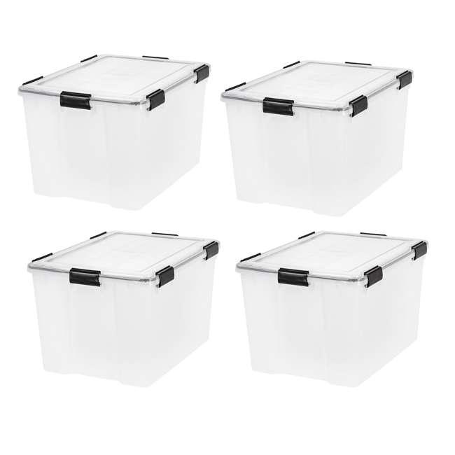 585855-4PK IRIS USA Weathertight 74 Quart Buckle Down Storage Box Container, Clear (4 Pack)