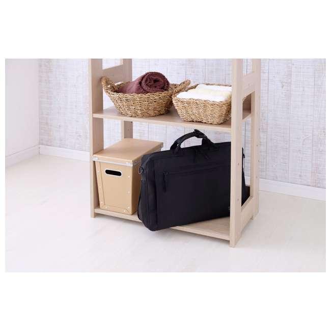 596285 IRIS 2 Shelf Compact Wood Garment Hanging Closet Clothing Clothes Rack, Brown 6
