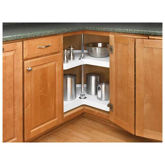 6472-28-11-52 Rev-A-Shelf 28 Inch 2 Shelf Kidney Shape Polymer Lazy Susan Organizer, White 1