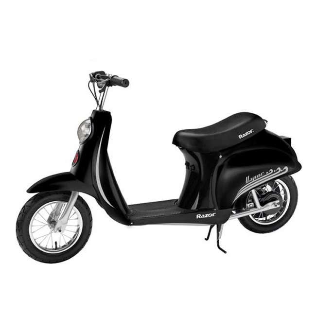 15130601 + 97778 + 96785 Razor Pocket Mod Scooter (Black) with Helmet, Elbow and Knee Pads 1